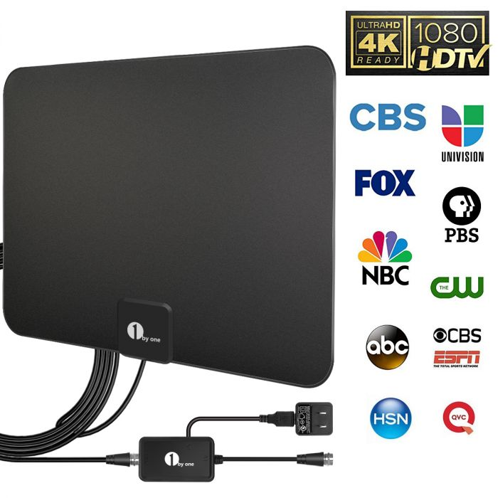 1byone Digital Amplified Indoor HD TV Antenna Up to 80 Miles Range,  Amplifier Signal Booster Support 4K 1080P UHF VHF Freeview HDTV Channels,  10ft