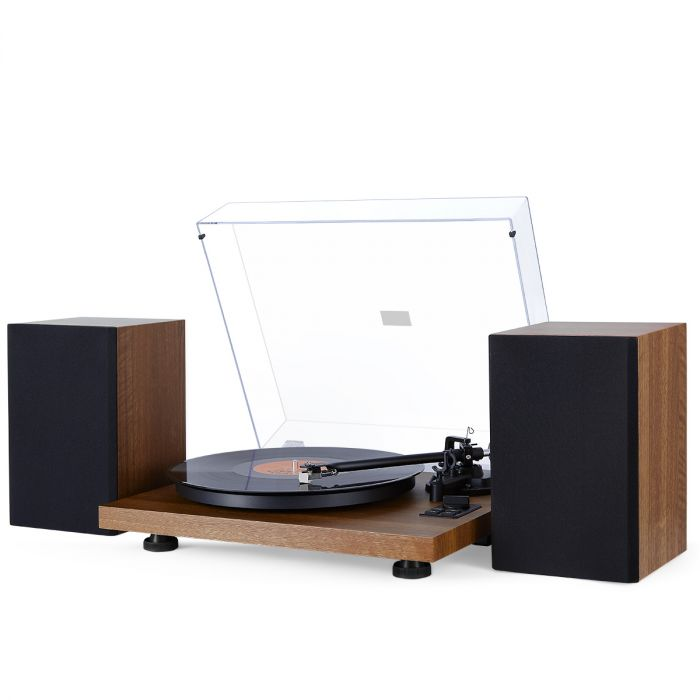 1byone Bluetooth Turntable Hi Fi System With 36 Watt Bookshelf Speakers Vinyl Record Player Magnetic Cartridge
