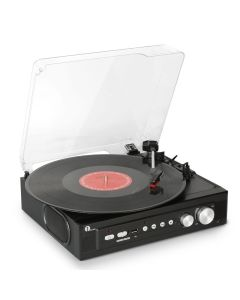 Stereo Record Player with Built in Speakers, Mini Belt Drive Turntable Support Vinly-To-MP3 Recording, RCA Output and USB MP3 Playback