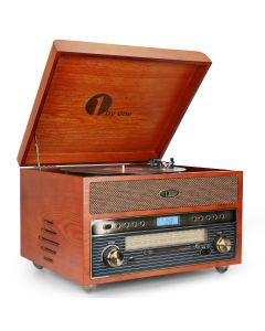 Nostalgic Wooden Turntable Vinyl Record Player with AM/FM