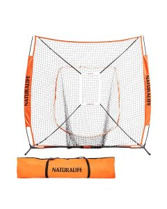 Naturalife 7x7ft Baseball and Softball Practice Net with Strike Zone Target-Orange