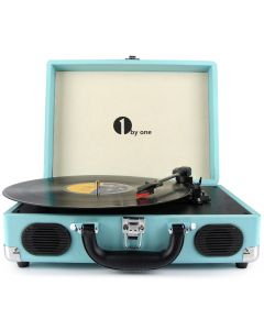 Belt-Drive 3-Speed Portable Stereo Turntable with Built in Speakers-Blue